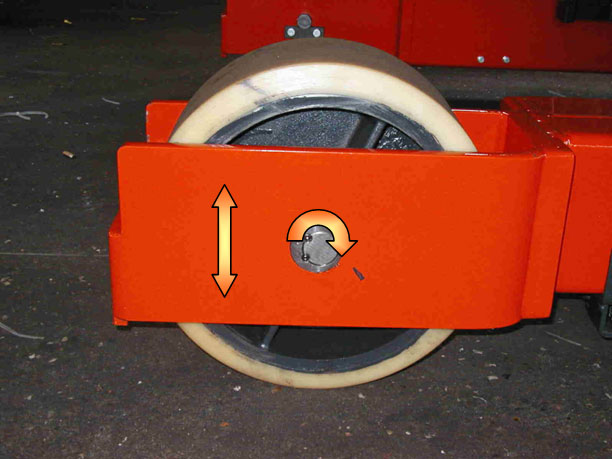 Vertically adjustable load wheel on excentric shaft